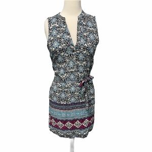 Almost Famous Floral Print Tunic Dress Blue Small